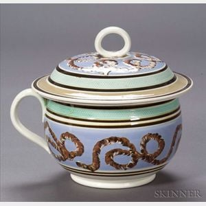 Mochaware Covered Chamber Pot with Looping Earthworm Decoration