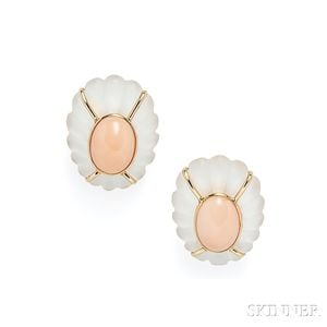 14kt Gold, Rock Crystal, and Coral Earclips