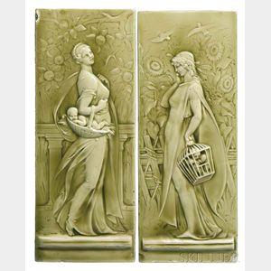 Two Minton Figural Pottery Tiles