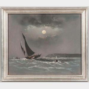 Frederick Porter Vinton (American, 1846-1911)      Moonlit Sail