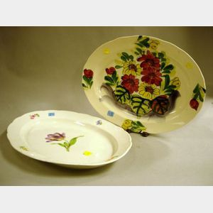 Meissen Handpainted Floral Decorated Porcelain Serving Platter and a Japanese Floral Decorated Ceramic Platter.