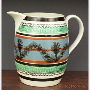 "Mochaware Barrel-form ""Seaweed"" Decorated Jug"