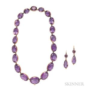 Antique Gold and Amethyst Riviere