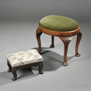 Two Carved and Upholstered Stools