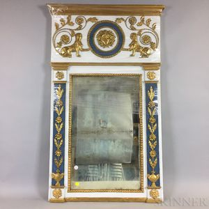 Neoclassical-style Painted and Gilt Mirror