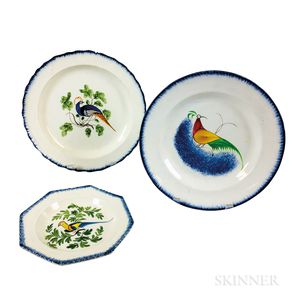 Three Staffordshire Peafowl-decorated Pearlware Plates