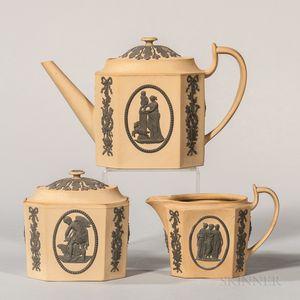 Three-piece Wedgwood Caneware Tea Set