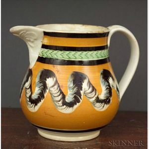 Small Mochaware Jug with Earthworm Decoration