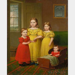 Deacon Robert Peckham (1785-1877)    Portrait of the Children of Oliver Adams, 1831, Bolton, Massachusetts.