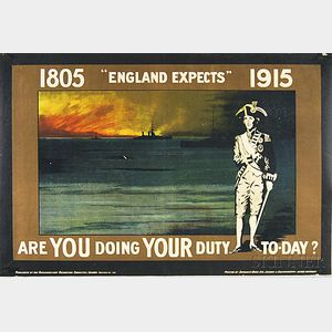 British England Expects - Are You Doing Your Duty Today?   WWI Lithograph   Poster