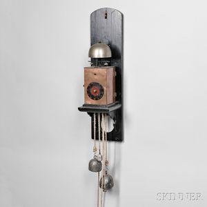 Bronze Japanese Iron-plate Striking Kake Dokei or Lantern Clock with Alarm