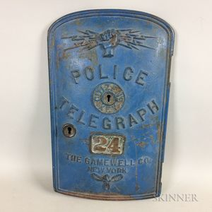 Gamewell Co. Blue-painted Cast Iron Police Telegraph Plate Cover