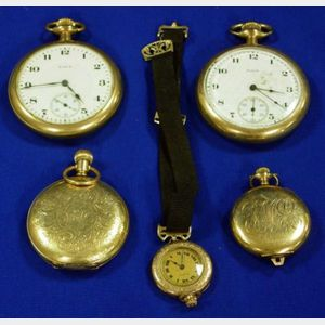 Five Gold Elgin Pocket Watches