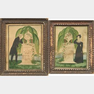 One Finger Artist (American, Early 19th Century)    Pair of Memorial Pictures.