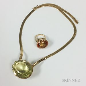 14kt Gold and Citrine Necklace and Ring