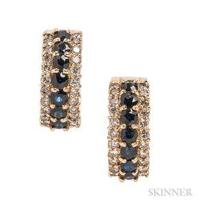 18kt Gold, Sapphire, and Diamond Hoop Earrings