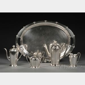 "Watson Sterling Five-piece ""Lotus"" Pattern Tea and Coffee Service"