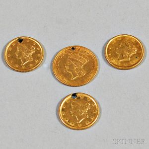 Four U.S. One Dollar Gold Coins