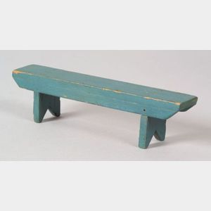 Miniature Blue-painted Wooden Bucket Bench