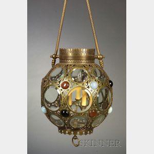 Victorian Brass and Glass Three-light Hall Chandelier