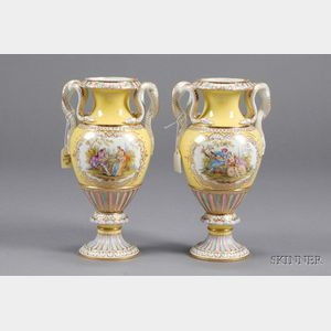Pair of Meissen Porcelain Yellow Ground Vases