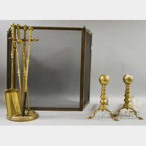 Eight Brass Fireplace and Hearth Items