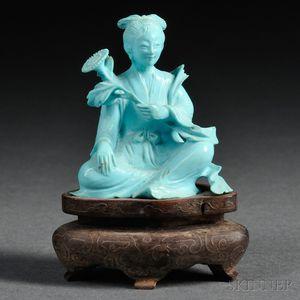 Turquoise Porcelain Figure