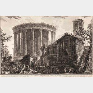 Giovanni Battista Piranesi (Italian, 1720-1778)      Veduta del Tempio della Sibilla in Tivoli