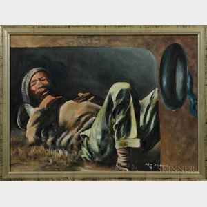 South African School (20th Century)   Oil on Canvas Depicting a Black Man Sleeping,