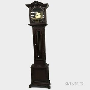 Victorian-style Carved and Glazed Mahogany Tall Case Clock