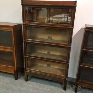 Globe-Wernicke Glazed Oak Four-stack Barrister Bookcase