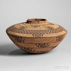 Yokuts Polychrome Basketry Olla