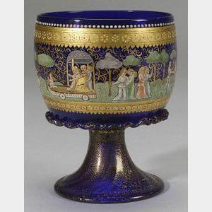 Mediaeval-style Cobalt Glass Enamel Decorated Goblet