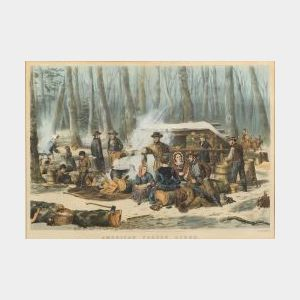 Nathaniel Currier, publisher (American, 1813-1888)  AMERICAN FOREST SCENE. Maple Sugaring.