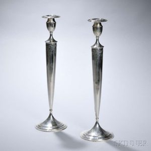 Pair of Frank Whiting Sterling Silver Candlesticks