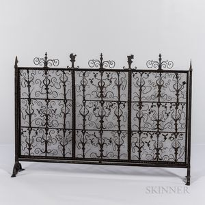 Colonial Revival Hand Wrought Iron Firescreen