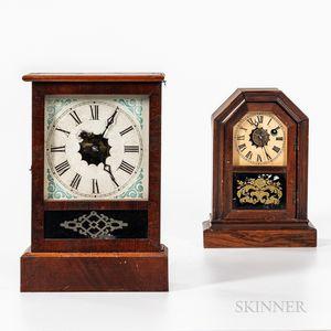 Two Walnut Cottage Clocks