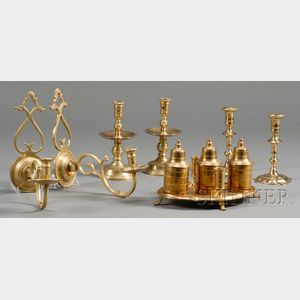 Six Reproduction Early Brass Lighting Devices and a Brass Inkstand