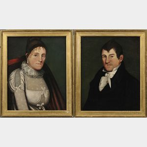 Zedekiah Belknap (American, 1781-1858)      Pair of Portraits of a New England Man and Woman