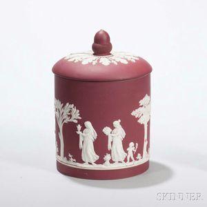 Wedgwood Crimson Jasper Dip Jar and Cover