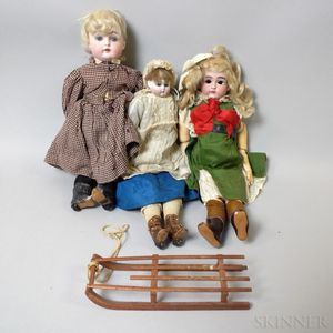 Three Bisque Head and Bisque Shoulder Head Dolls
