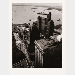 Berenice Abbott (American, 1898-1991)      Wall Street, Broadway to Battery, New York