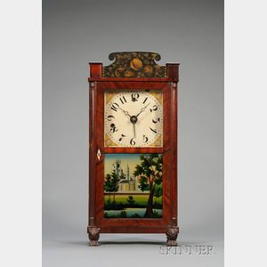 Mahogany Miniature Column and Splat Shelf Clock by Silas Hoadley