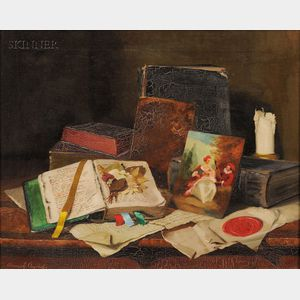 Romek Arpad (Hungarian, 1883-1960)      Still Life with Books