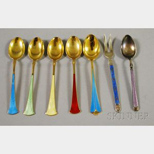 Seven Small Guilloche Enameled Sterling Silver Flatware Items