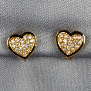 18kt Gold, Diamond, and Enamel Heart Earclips