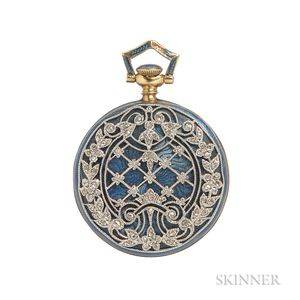 Edwardian 18kt Gold, Enamel, and Diamond Open-face Pendant Watch, Tiffany & Co.