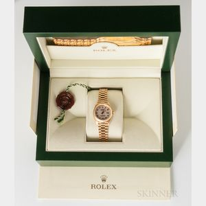 Rolex 18kt Gold President Lady's Datejust Reference 69178 with Box