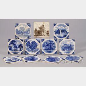 Eleven Wedgwood Transfer Massachusetts Landmark Ceramic Tiles