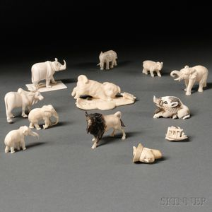 Twelve Miniature Ivory and Bone Carvings